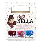 Miss Nella - Esmalte de uñas Winter Glitters con purpurina especial para niños, paquete de 3 Sugar Hugs, Jazzberry Jam & Under The Sea, fórmula que se quita con agua.