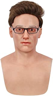 Minaky Silicone Realistic Man Head Mask Handmade Face for Crossdresser Transvestite Disguise Cosplay 4G