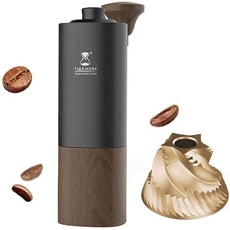 TIMEMORE タイムモア G1plus 手挽きコーヒーミル チタンコーティング特許臼E&B コーヒーグラインダー 手動式 家庭用 coffee grinder 粗さ調整可能 超省力 (ブラック, G1plus)