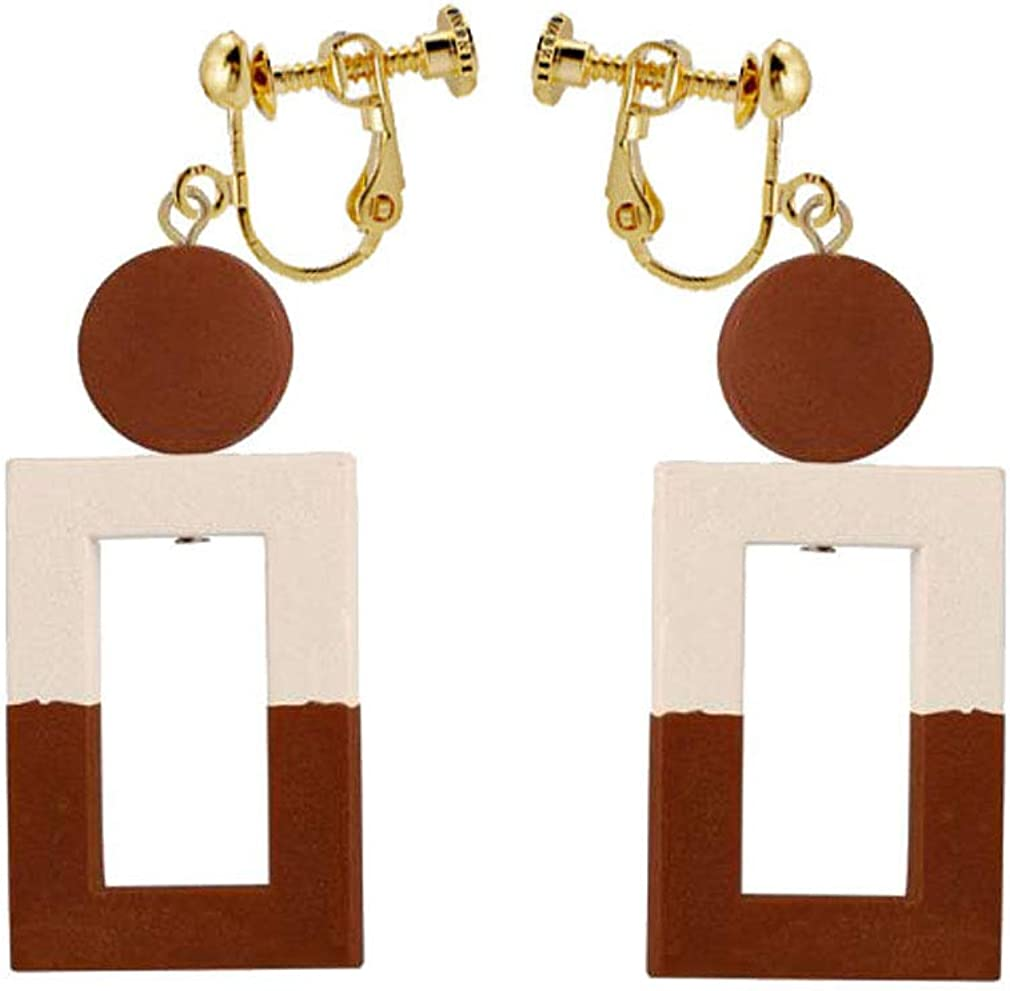 Square Wood Clip on Earrings Brown Hollow Dangle Non-Pierced Jewelry for Women Grils Gift