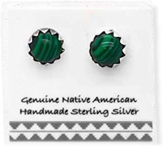 6mm Genuine Malachite Stud Earrings in 925 Sterling Silver, Authentic Navajo Native American, Handmade in the USA, Nickle ...
