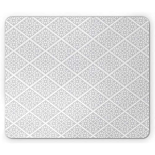 Abstrakte Mausunterlage, ununterbrochene einfache Motive des traditionellen Mosaik-Fliesen-Art-Blumen-Musters, weißes hellgraues