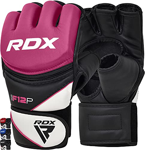 RDX MMA Handschuhe für Kampfsport, Maya Hide Leder Trainingshandschuhe Sparring Profi Grappling Gloves, Punchinghandschuh für Kickboxen, Boxsack, Sandsack, Freefight, Muay Thai (MEHRWEG)