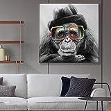 Leinwanddrucke-AFFE trägt Brille Druck auf Leinwand Wandkunst Bild Grafik auf Wohnkultur Wohnzimmer60x60cmFrameless Malerei