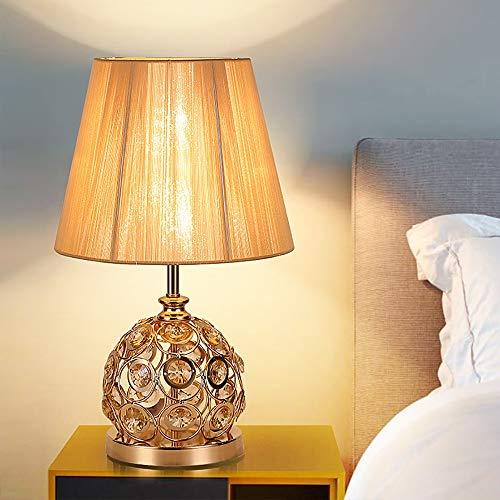 Hancoc Lámpara de mesa minimalista moderna de estilo europeo para dormitorio, mesita de noche, lámpara de mesa clásica de seda de cristal dorado, 30 x 52 cm