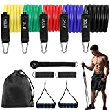Fostoy Resistance Bands Set, Exercise Bands with Handles, Door Anchor, Drawstring Bag, Legs Ankle Straps, Elastic Fitness Bands for Resistance Training, Physical Therapy, Home Workouts