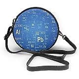 Borsa a tracolla rotonda in PU TORNATA Cartoon Science Chemistry Show televisivo Immagine ispirata con stampa di immagini da tavola periodica e borsa a tracolla
