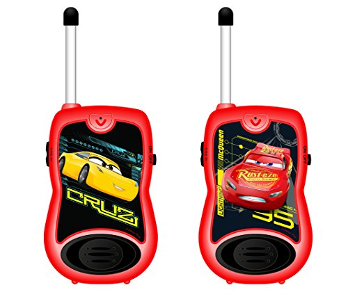 Cars- Disney Par de Walkie Talkies, Rango de 100 Metros, Color Rojo (Lexibook TW12DC)