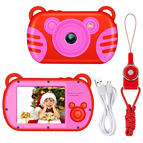 Kids Camera, LSLYA Kids Digital Camera w/Games, Underwater Kids Camera, 2.7 Inch HD Screen Camera for Toddler,Camera Kids Girl, Best Birthday Gifts, 8X Kids Zoom Camera, Digital Cameras for Girls(Red)