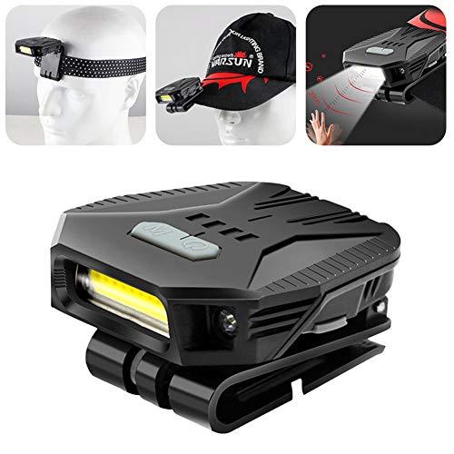 Gorra LED ligera con clip, 5 modos, regulable, ultra brillante, con control de sensor, resistente al agua IPX5 LED, linterna frontal con tapa sensorial para leer, cazar, camping, pesca