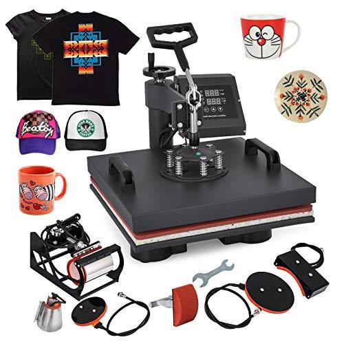 Guellin Máquina de Prensa de Calor Prensa de Calor 15 x 15 Pulgadas Máquina de Transferencia de Calor para Camiseta/Taza / Gorra (6 en 1)