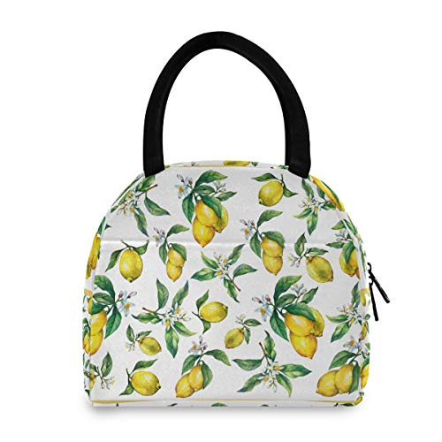 Bolsa de almuerzo para mujer reutilizable con aislamiento de frutas cítricas frescas y limones para la escuela, oficina, picnic, niños, adultos, niños