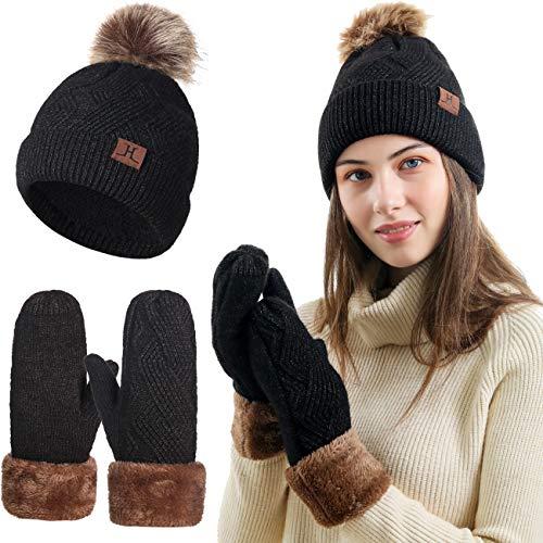Neusky Damen Mädchen Winter warm Strick Mütze, Handschuhe im 2er-Set (Schwarz 2-teilig)