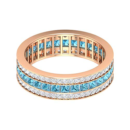 Rosec Jewels 18 quilates oro rosa talla princesa round-brilliant-shape H-I Diamond Aquamarine