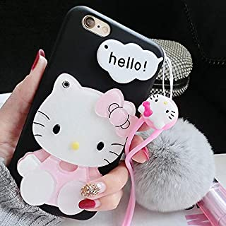 3D Hello Kitty Cute iPhone Cases XR/XS MAX Silicone Case with Mirror (Black, iPhone XR)