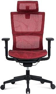 Silla de escritorio de malla para ordenador, ergonómica con reposabrazos ajustable, estilo de carreras con soporte lumbar, rueda de nailon roja
