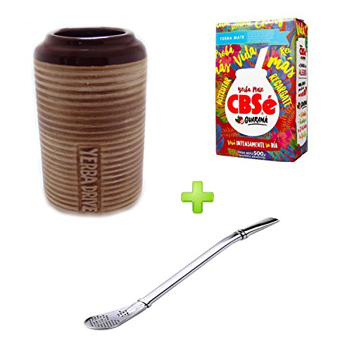 Mein Teeshop Mein té Shop cerámica Drive marrón + Bombilla Acero Inoxidable + Yerba Mate cbse Energia guaraná 500 g