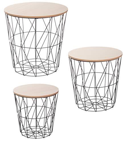 Brandsseller Juego de 3 mesas auxiliares (29 cm de diámetro, 34 cm de diámetro, 39,5 cm de diámetro, metal/madera), color claro