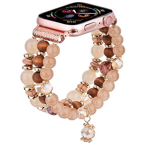 V-MORO Bracelet Compatible with Apple Watch Bands 40mm 38mm Sereis 6/5 Women Fashion Handmade Elastic Stretch Beads Replacement for iWatch Series 4/3/2/1 38mm/40mm Girls Khaki
