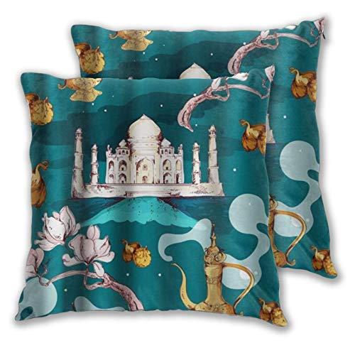 LONSANT Fundas de Cojines 45x45cm,Oriente con Taj Mahal y Flores Florales Antiguas de Tetera,decoración Cuadrado Fundas de Almohada Funda de cojín para sofá Dormitorio,Pack de 2