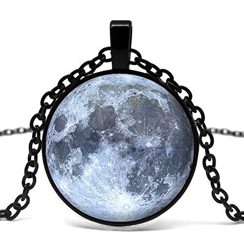 Collar de hombre Moda Plata Luna Llena Logotipo Colgante Collar Arte Cadena Vintage Collar Declaración Collar Regalo Hombres.
