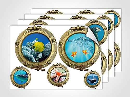 GRAZDesign Maritime Dekoration Fliesentattoos Hai Wal Welle, Wandsticker Toilettentattoos Bullauge Unterwasserwelt, Wandtattoo Bad Badezimmer WC/DIN A4 (4Stück)