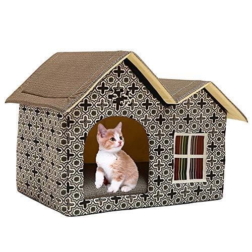 DYYTR Indoor Katzenhaus/EIN extra Stabiler Covered Innenkatze-Bett-Wohnung zusammenklappbarer/Pet House Shelter für Hunde und andere Haustiere zu,Three