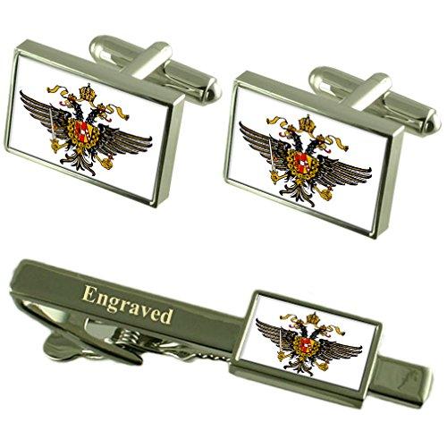 Dragoon Guards militärischen England Flagge Manschettenknöpfe graviert Krawattenklammer