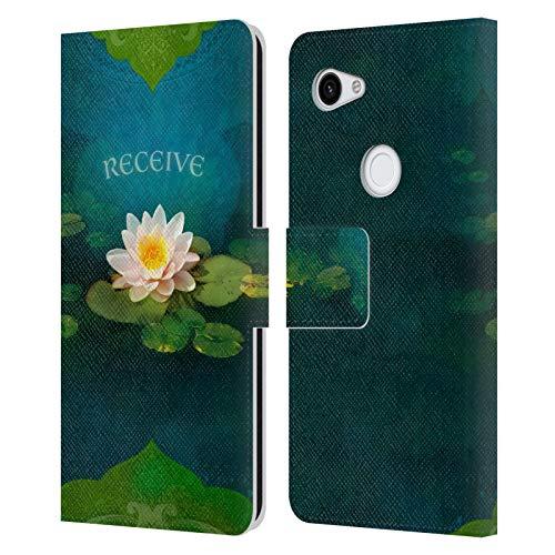 Head Case Designs Licenciado Oficialmente Duirwaigh Recibir Lotus Dios Carcasa de Cuero Tipo Libro Compatible con Google Pixel 3a