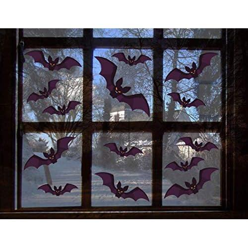 Yuson Girl 96 Pezzi Nero PVC 3D Adesivo Pipistrelli Murale Spaventoso Fai Da Te Set di Decorazioni per Finestre Domestiche per Halloween Festa Fornitura