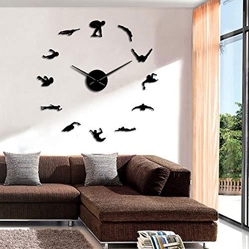 Reloj de pared moderno con diseño de nadador para hacer tú mismo, con números de pegatinas de espejo de natación, decoración de pared, reloj de pared, regalo para nadador (negro, 37 pulgadas)