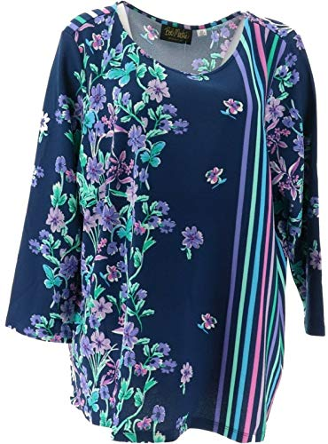 Bob Mackie Floral Stripe Pullover Knit Top Navy M New A350910