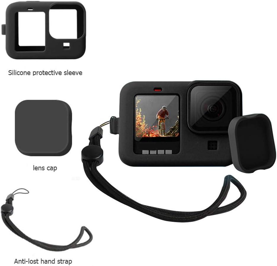 Kit daccessoires pour GoPro Hero 9 coque de protection en silicone avec cache en caoutchouc pour GoPro Hero 9 Black coque de protection en silicone avec couvercle de lani/ère pour GoPro Hero 9