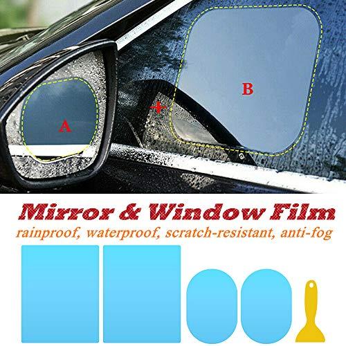 tioeqioan 4pck Auto Rückspiegel Film Anti-Fog Aufkleber, HD Windschutzscheibe Seitenfenster Schutzfolie mit 1 Abstreifer