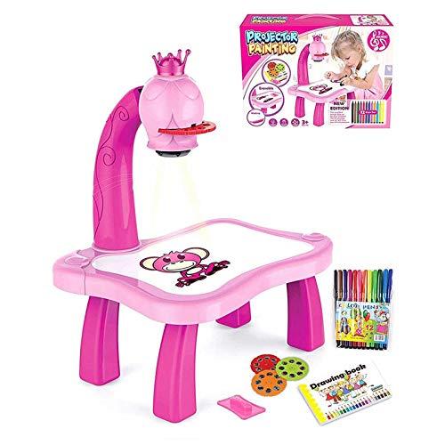 XIAOL Tablero de dibujo para niños, proyector de pintura, mesa de aprendizaje multifunción con patrón, goma de borrar y pintura musical, juguete educativo artesanal, regalo para niños (rosa)
