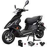X-PRO Bali Moped Scooter Street Scooter Gas Moped 150cc Adult Scooter Bike with 10' Aluminum Wheels! Fully Assembled in Crate! (Black)