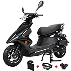 150cc Moped Scooter Every package comes with Gloves, Goggle and Face Mask. Feisty 150cc, air-cooled, 4-stroke engine puts out strong, predictable power with incredible gas mileage. Assembled already, customer no need to deal with hassels of assembly....