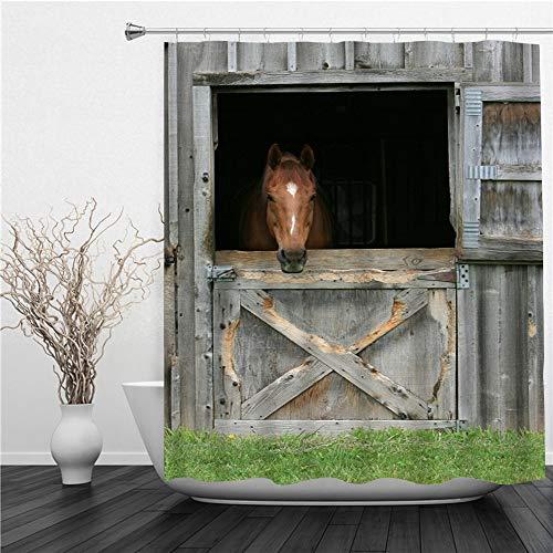 SUHETI Duschvorhang 180x180cm,Farm Grassland Scheunentür Hintergr& Holz Pferd Pferdestall Saloon Gate Tür Western Back Drop,Duschvorhang Wasserabweisend-Duschvorhangringen 12 Shower Curtain mit