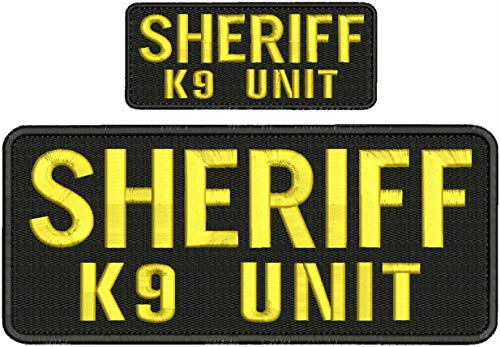 'Sheriff k9 Unit' Patch 4x10 and 2x5 Hook on Back Gold Letters