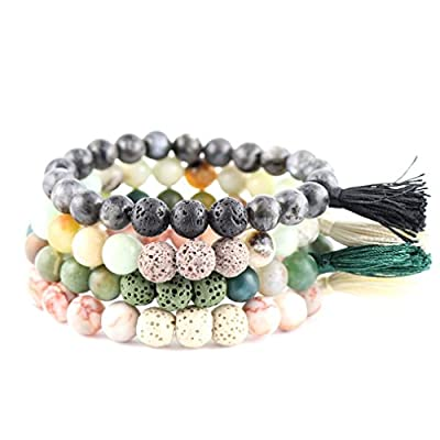 New Natural Lava Rock Stone Essential Oil Diffuser Tassel Bracelets for Aromatherapy | FIRST AID rescue aroma Friendship Tibetan Prayer Beaded (4 Pcs Set - Heal & Let Go. Black, Green, Beige, 19) from Trend Builder Inc