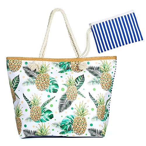 Jolintek Bolsa de Playa Grande Bolsa de Playa de Lona Bolsos de Mano Shopper Bolsa de Playa Bolsas de Viaje con Cremallera para Mujeres y Niñas (03)