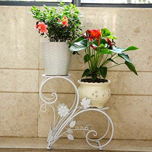 Ali@ Salle de séjour à Plusieurs étages de Cadre de Fleur de Style européen avec étagère de Fleur de terrasse de Plancher (Couleur : Blanc)