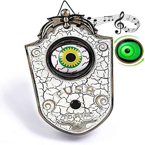 Mauel Timbre de Puerta de Halloween, Timbre de un Ojo de Halloween, Halloween Iluminado Talking Eyeball Timbre Hallowmas Prop Spooky Toy Regalo,White b