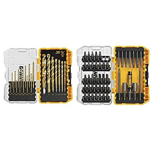 DEWALT Titanium Drill Bit Set, 21-Piece (DW1342) & Screwdriver Bit Set with Tough Case, 45-Piece (DW2166)
