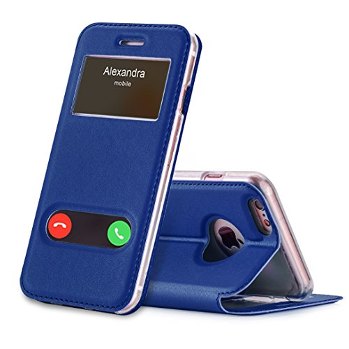 FYY Funda iPhone 6S Plus, Funda iPhone 6 Plus, De Soporte Magnetico en la Parte Cubierta y Funcion de Ventana con Vista a Pantalla Superior para Apple iPhone 6S Plus/6 Plus Azul Oscuro