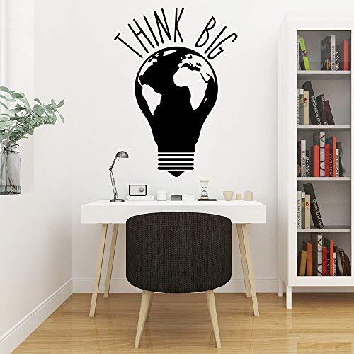 Mapa del mundo de la tierra creativa Bombilla de luz Pensando en una idea grande Frase Etiqueta de la pared Vinilo Arte Calcomanía Niño Niños Dormitorio Sala de estar Club Decoración para el hoga