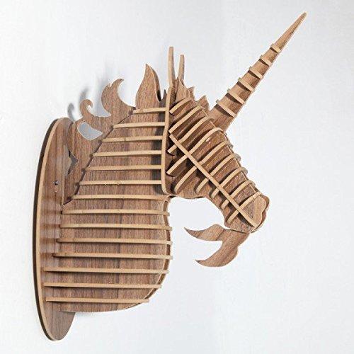 Grande Unicornio Animal 3d cabeza de madera. Madera Sintética taxidermia, cabeza de ciervo