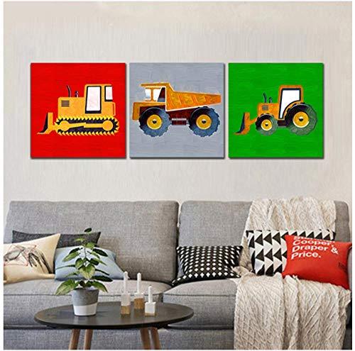 Jwqing Canvas afbeelding graafmachine vork heftruck afdrukken wandafbeeldingen voor woonkamer muurkunst decoratie wandafbeeldingen voor slaapkamer (50x50 cm x 3 geen vormgeving)