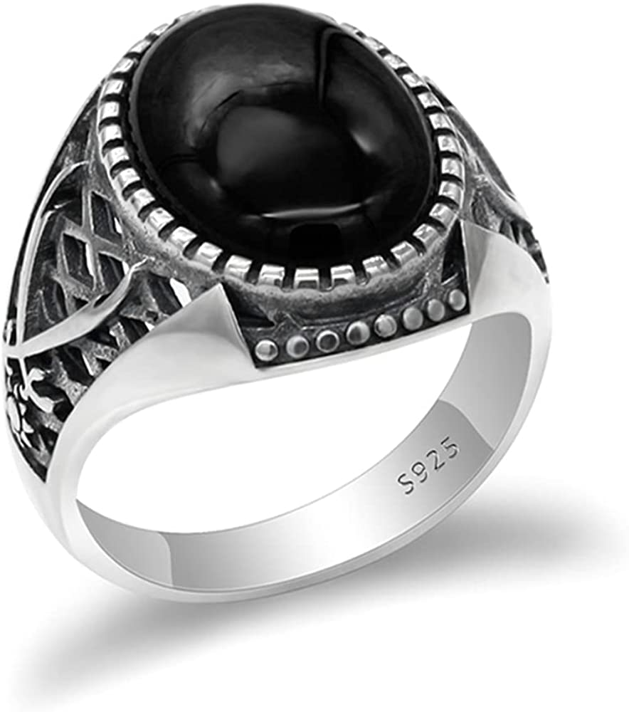 Real 925 Sterling Silver Islamic Men Milwaukee Mall Now on sale Black with Onyx Ring Stone