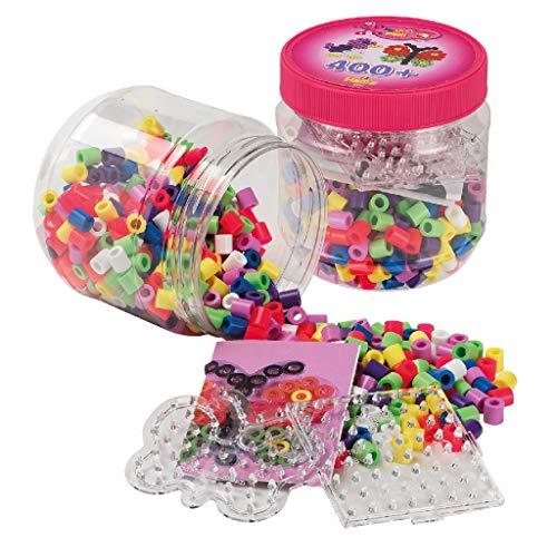 Hama 8791 Beads & Pegboards in tub Bügelperlen Maxi, Dose mit ca. 400 Perlen, Stiftplatten und Zubehör, Schmetterling, bunt, Einheitsgröße